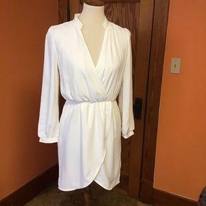 Trendy dressy angelic white sexy wrap around dress